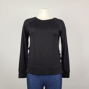 Dex Black Knit Ruffle Long Sleeve Top Size XS
